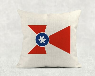 Autism ICT Flag Linen Throw Pillowcase