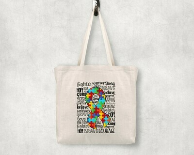 Autism Ribbon Shopping Tote
