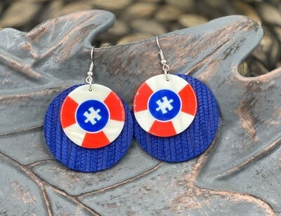 ICT Puzzle Piece Glitter Round Shell Earrings