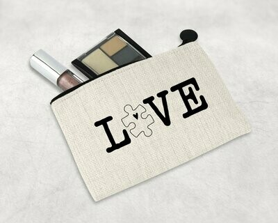 LOVE Puzzle Piece Zipper Pouch