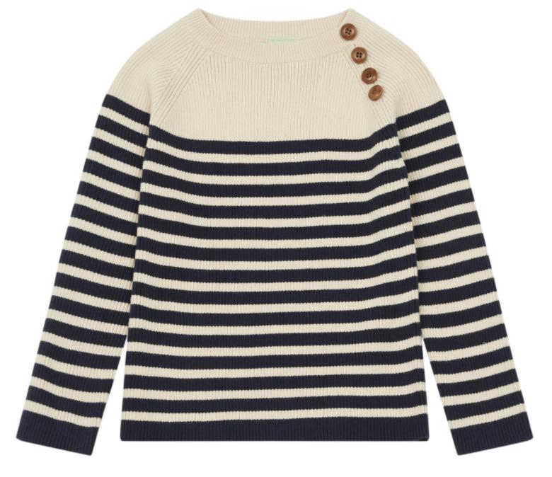 Buttoned Organic Cotton Stripe Sweater