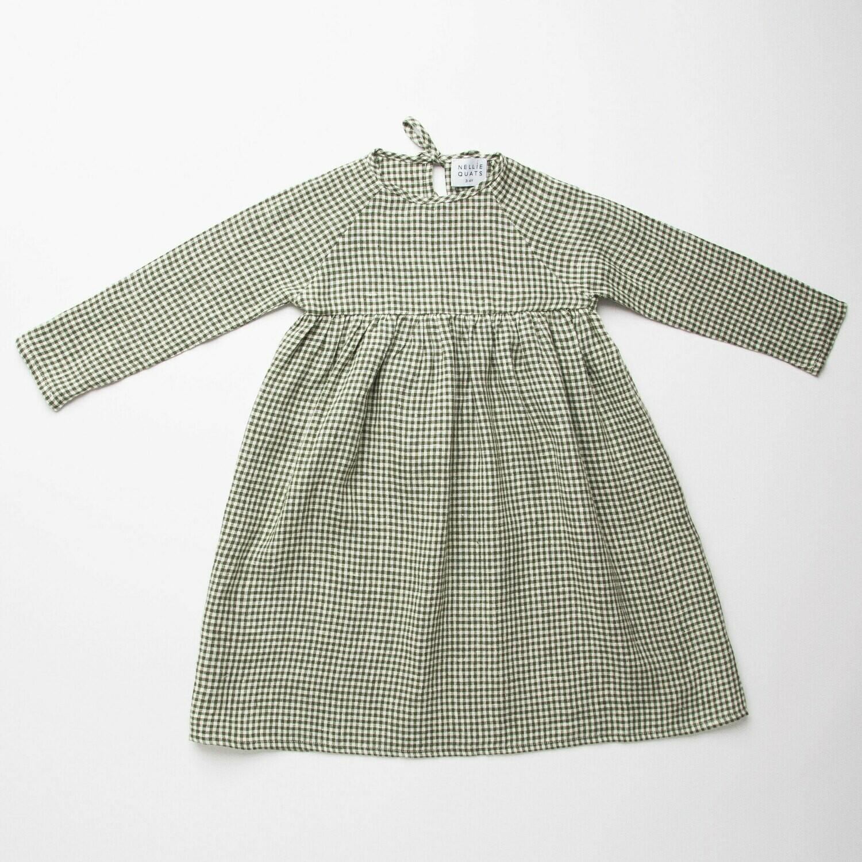 Hopscotch Dress Green Check Linen