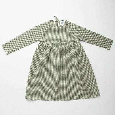 Hopscotch Dress Green Check Linen