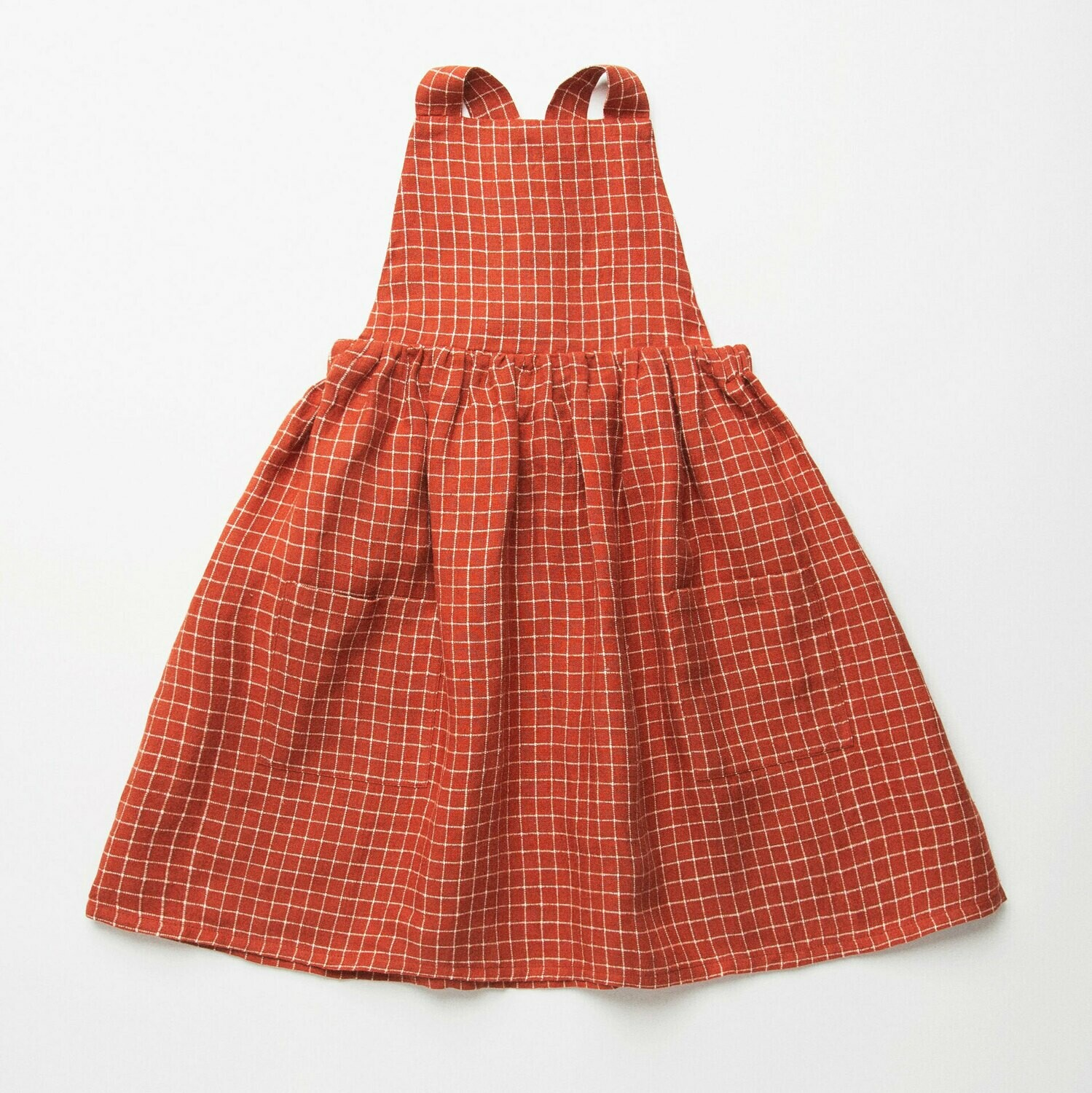 Conkers Pinafore- Rust Check Linen