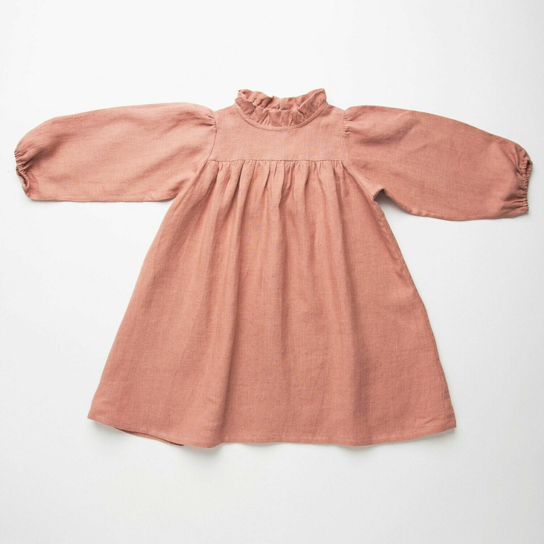Marbles Dress Dusty Rose Linen