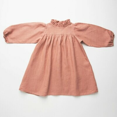 Marbles Dress Dusty Rose Linen
