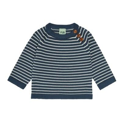Striped Baby Sweater - Petrol / Ecru