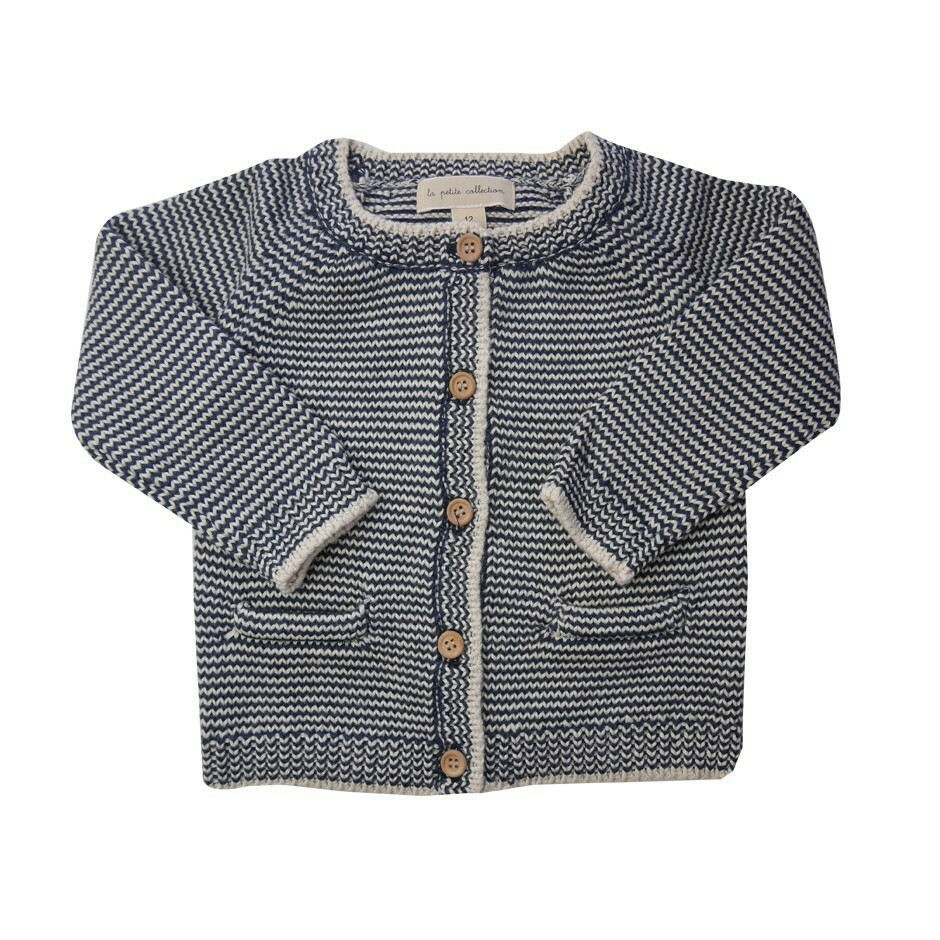 Navy Stipe Thick Cardigan