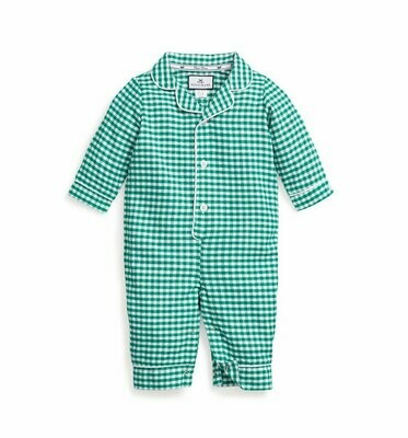 Green Gingham Romper with White Piping