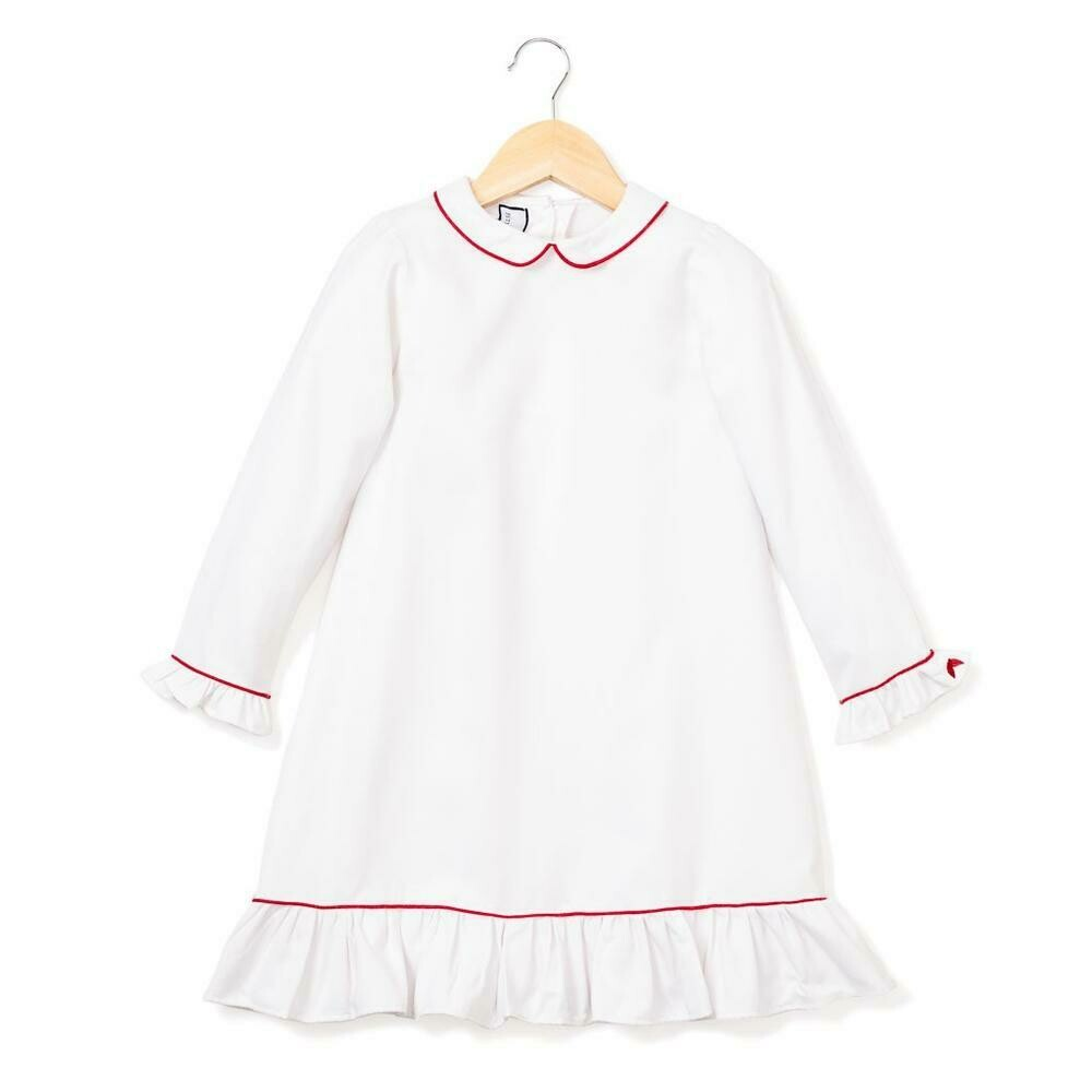 Sophia Nightgown, White with Red Piping