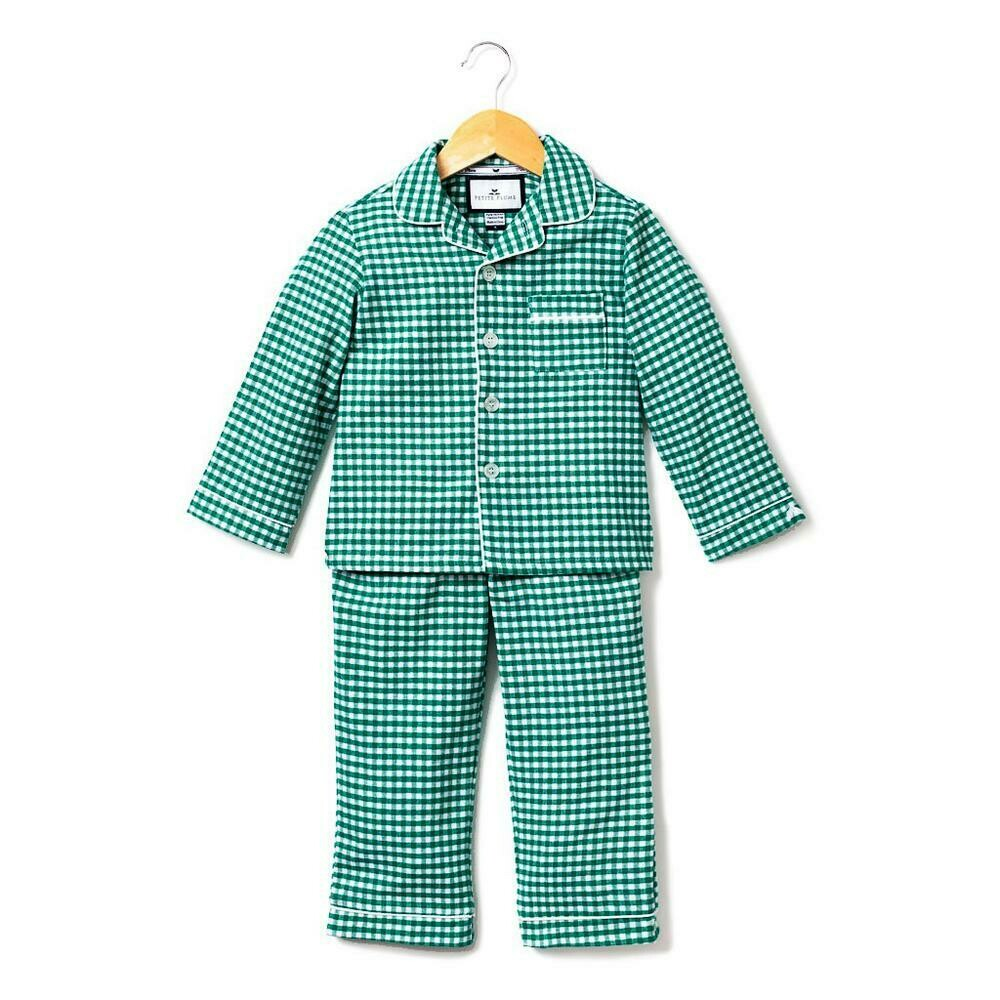 Green Gingham Classic Flannel Pajamas