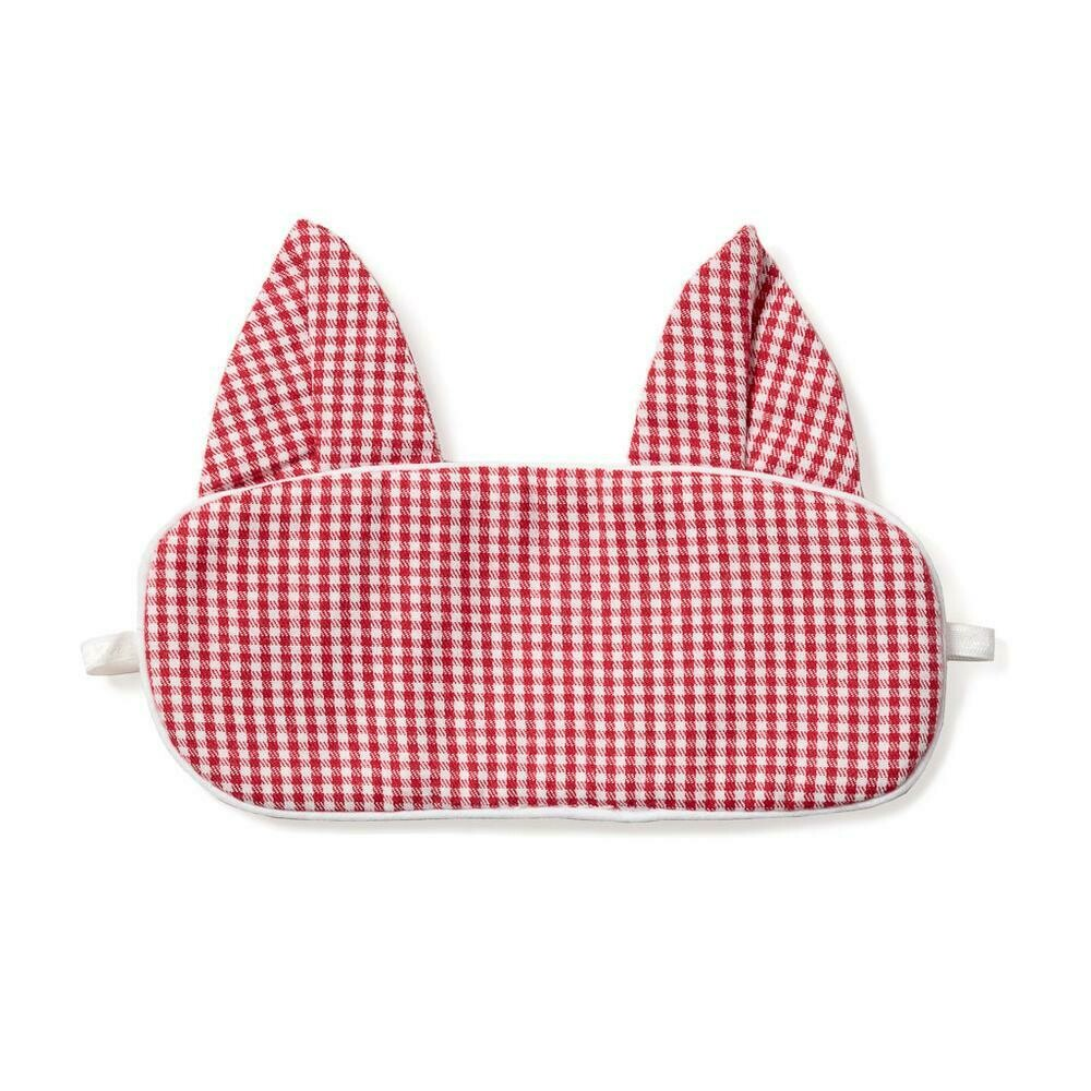 Red Mini-Gingham Kitty Eye Mask