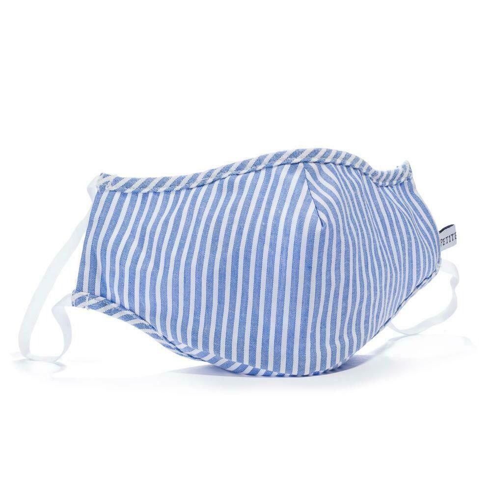 French Blue Seersucker Face Mask