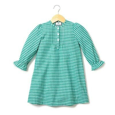 Beatrice Nightgown, Green Gingham Flannel