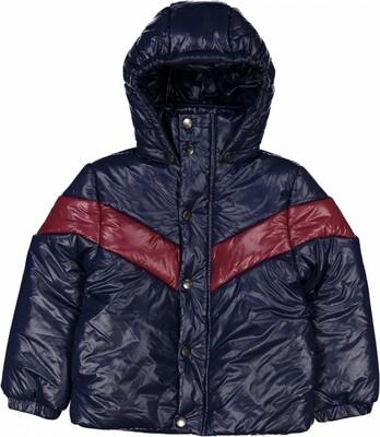 Disquette Jacket, Metallic Canvas, Navy/Burgandy