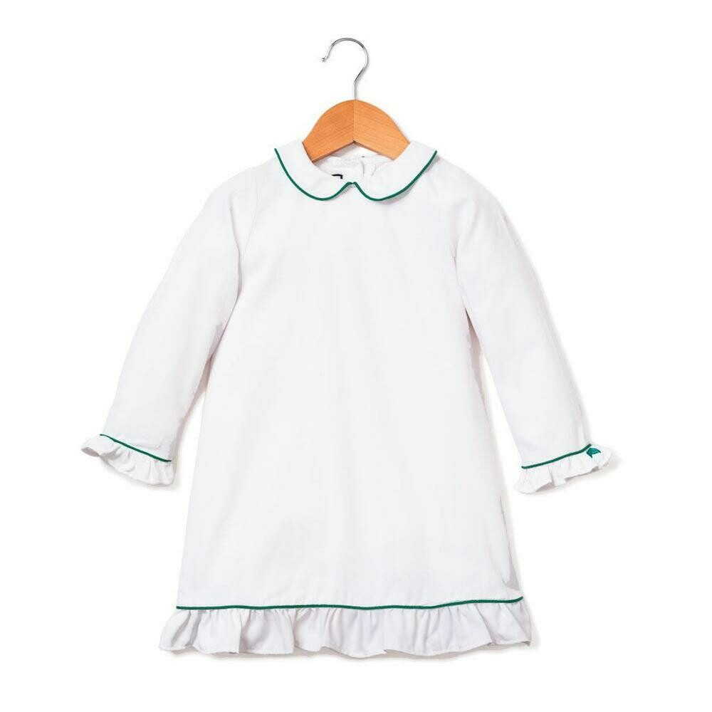 Sophia Nightgown, White with Green Piping