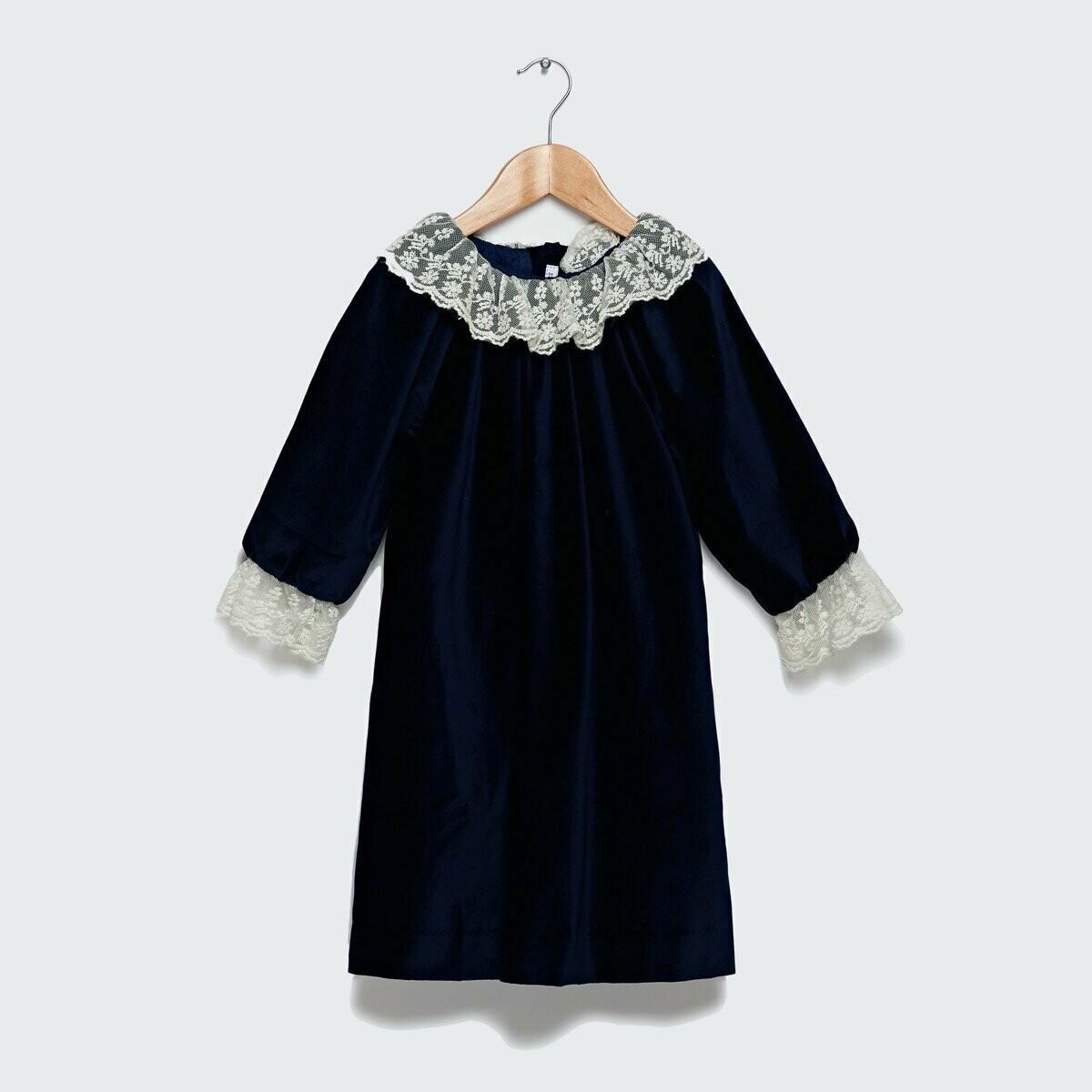 Weldon Dress - Navy Blue Velvet