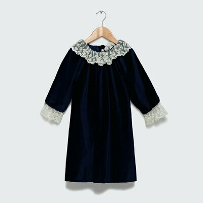 Weldon Dress - Navy Blue Velvet