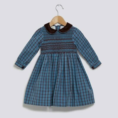 Theatre Dress - Burgundy & Blue Check