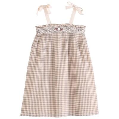 Gingham Peach Dress