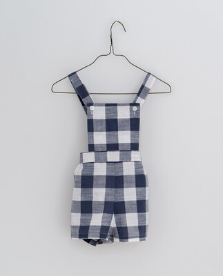 Cromer Short Dungarees, Textured GIngham