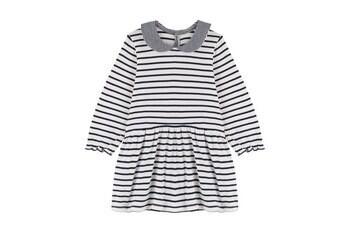 Baby Girl Striped Peter Pan Collar Dress, White Navy