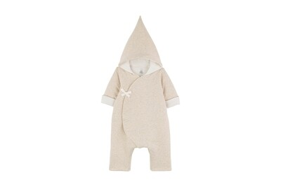 Side Snap Hooded Baby Coverall, Beige