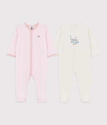2 Pack Velour Baby Girl Footies with Graphics, White Pink