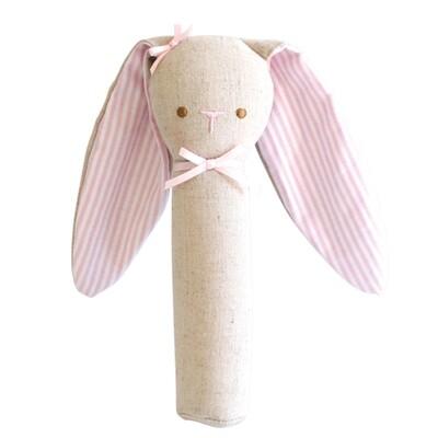Bunny Rattle-Pink Linen