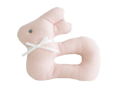 Linen Bunny Rattle- Pink