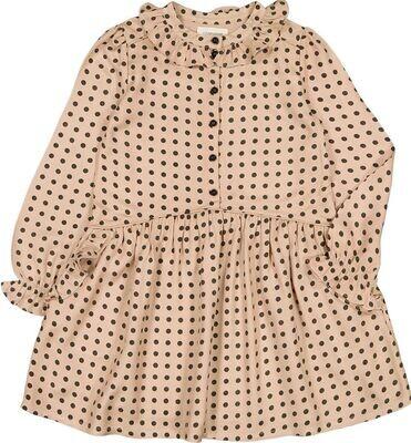 Carolina Dress, Blush with Black Dots