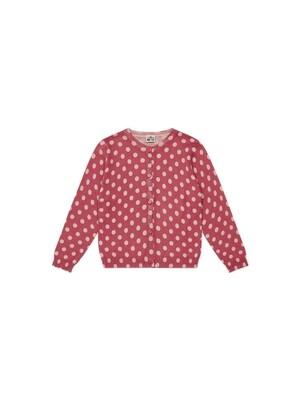 Girl's Cardigan, Red Polka Dots