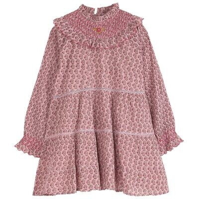 Embroidered Smock Girls Dress , Pink Daisy