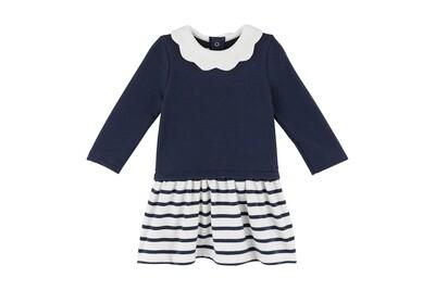 Baby Girl Scallop Collar Dress, Navy & White Stripe