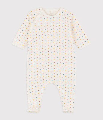 Baby Side Snap Printed Footie - White Multi