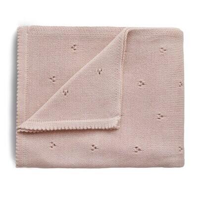 Knitted Pointelle Baby Blanket, Blush