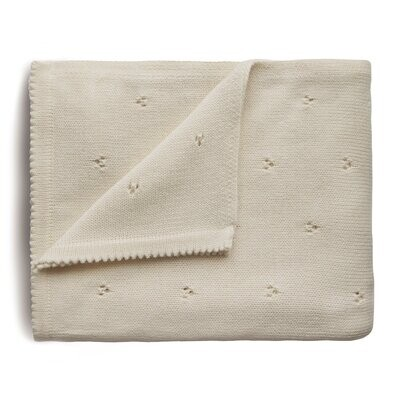 Knitted Pointelle Baby Blanket, Ivory