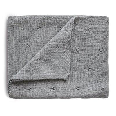 Knitted Pointelle Baby Blanket, Grey Melange