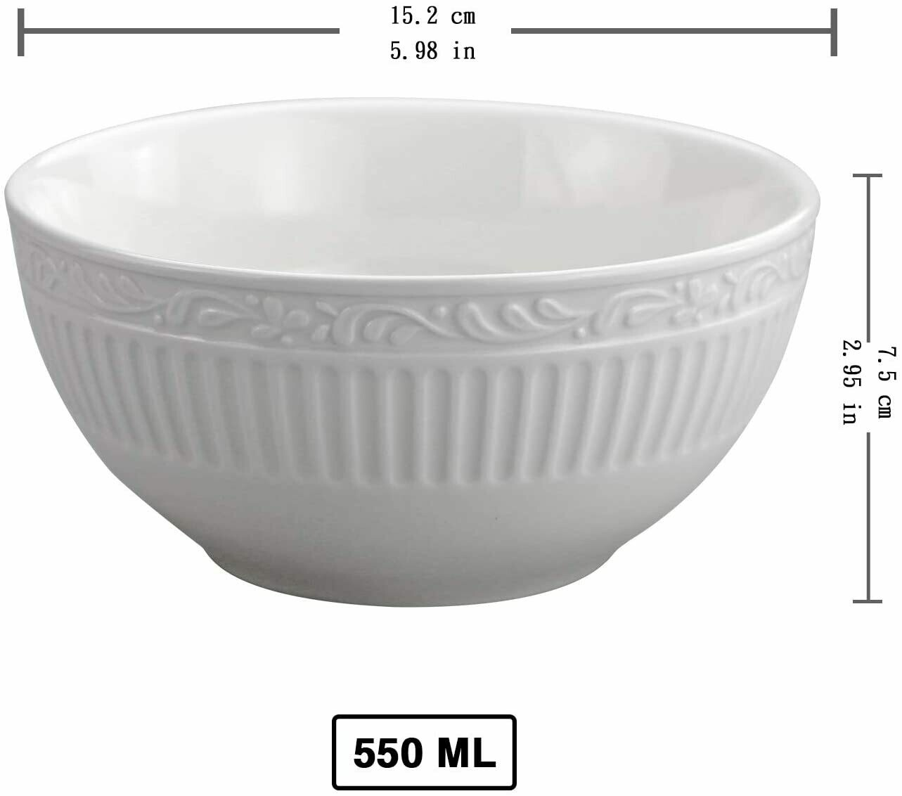 ceramic dinnerware large kitchen bowls serving set for cereal soup white set of 4 550 ml youth bakery