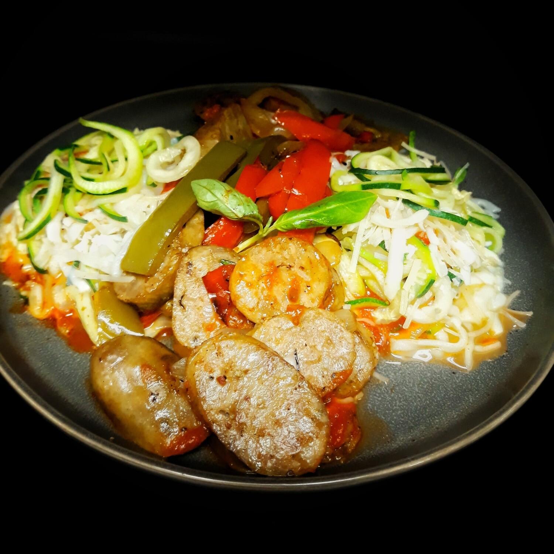 Keto Sausage & Zoodles