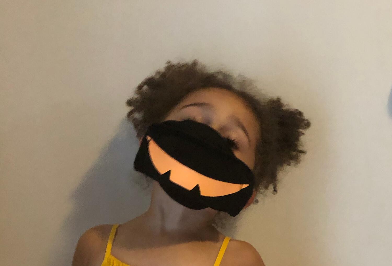 Black Mask/Orange Glow In the Dark Pumpkin Mouth