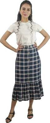 Women Checkered Tube Blue Skirt