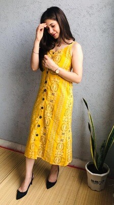 Ikat Print Work Yellow Dress