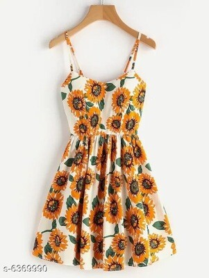 Crisscross Back A Line Cami Dress Sunflower Print