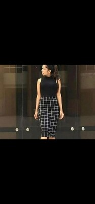 BLACK TOP & CHECKERED SKIRT