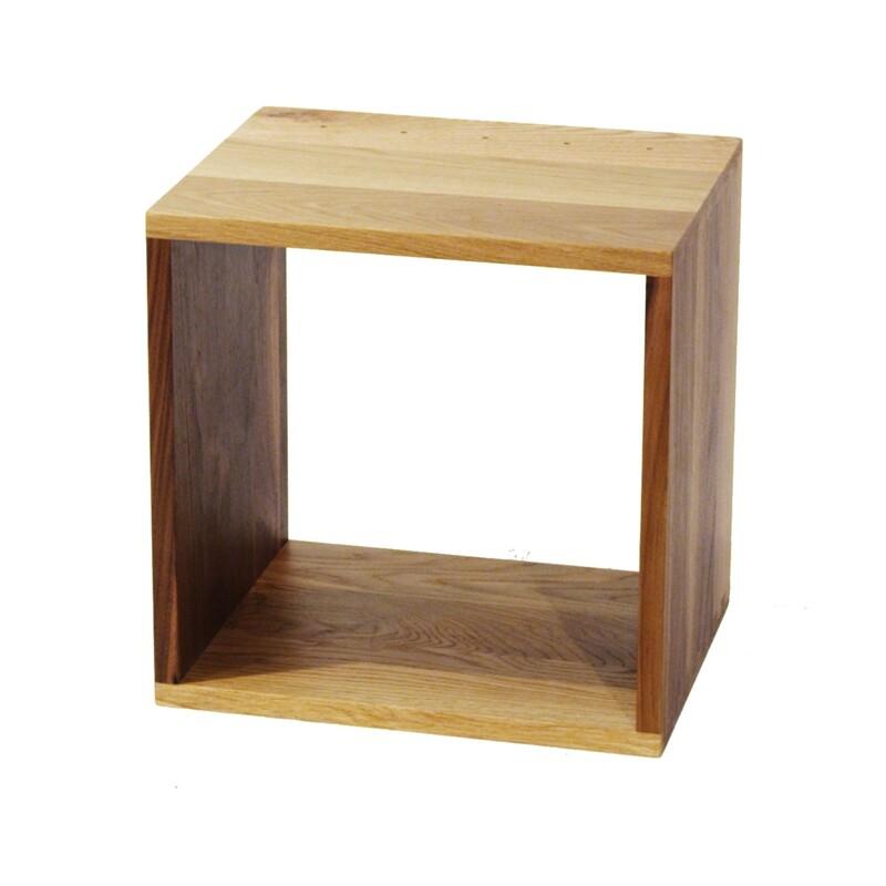 Solid Oak and Walnut box 375 x 375 x 300