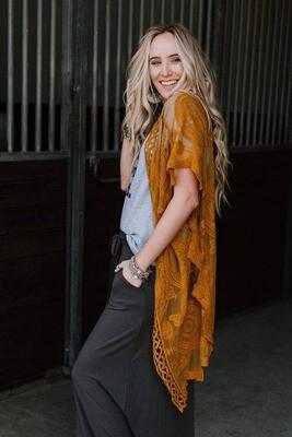 Bellamy Lace Kimono - Mustard