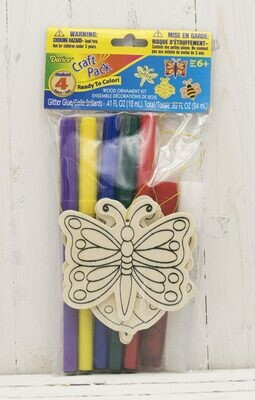 Craft Wood Cutout Ornament Kit Includes Markers & Glitter-Bugs