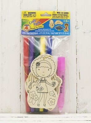 Craft Wood Cutout Ornament Kit Includes Markers & Glitter-Girl