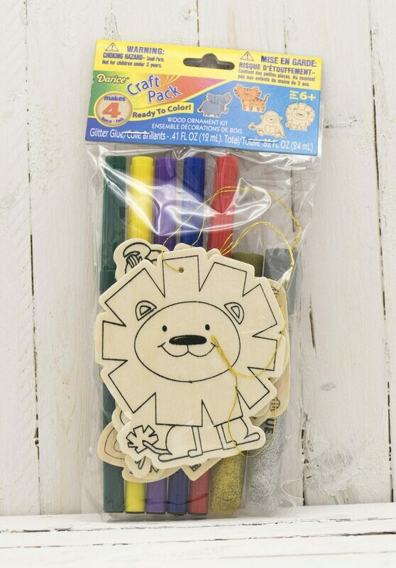 Craft Wood Cutout Ornament Kit Includes Markers & Glitter-Animal